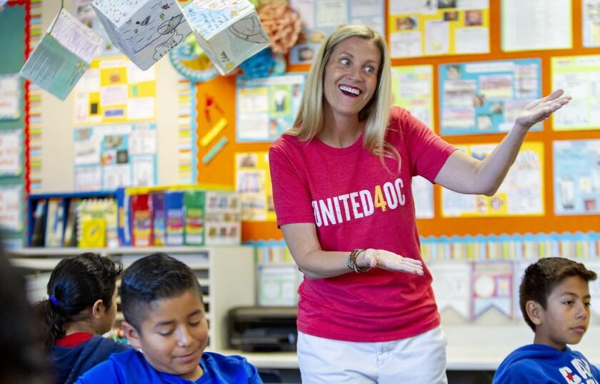Jennifer Swan-Altieri, a third-grade teacher at Paul Revere Elementary School in Anaheim, teaches a lesson.