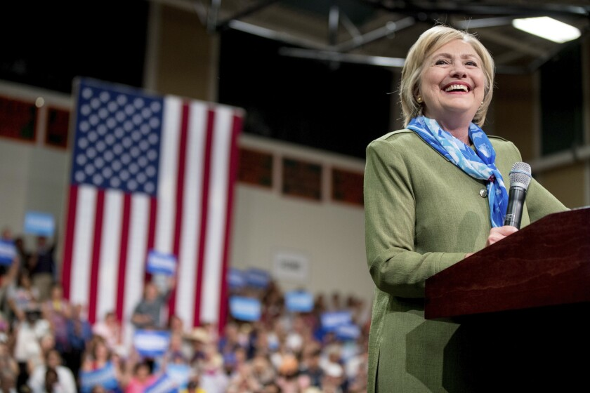 Hillary Clinton speaks at a rally in Commerce City, Colo., on Aug. 3.