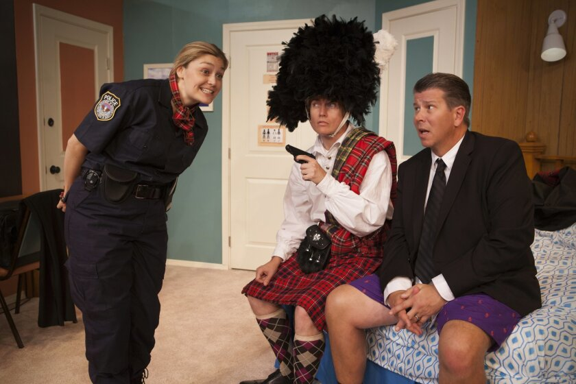 "Jacque Wilke, David McBean and John Nutten (left to right) in ""Unnecessary Farce."""