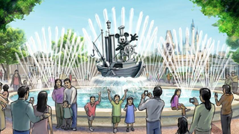 Steamboat Mickey fountain