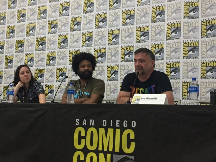"Speakers in the ""Take PRIDE in Comics"" panel at San Diego Comic-Con on Friday, from left, comic bookseller Siena Fallon, comic artist William O. Tyler and comics colorist Jose Villarubia."