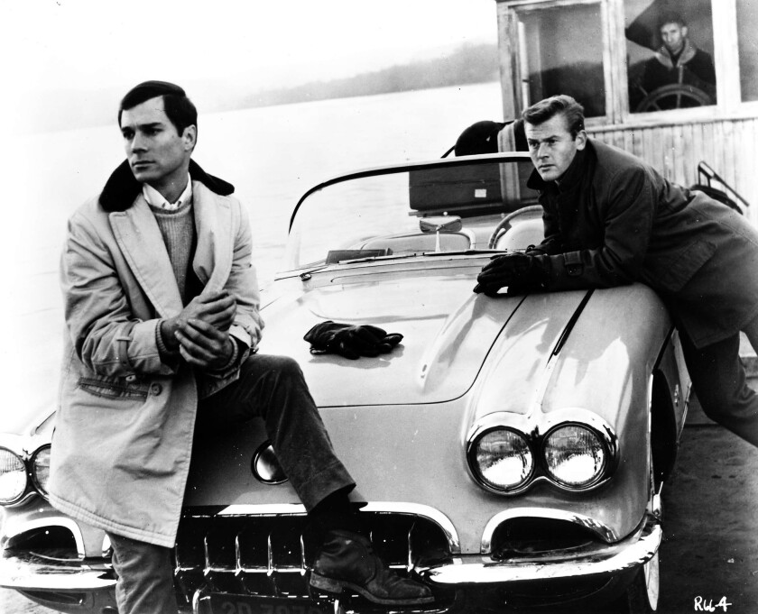 """Route 66"" stars Martin Milner, right, and George Maharis with their Corvette."