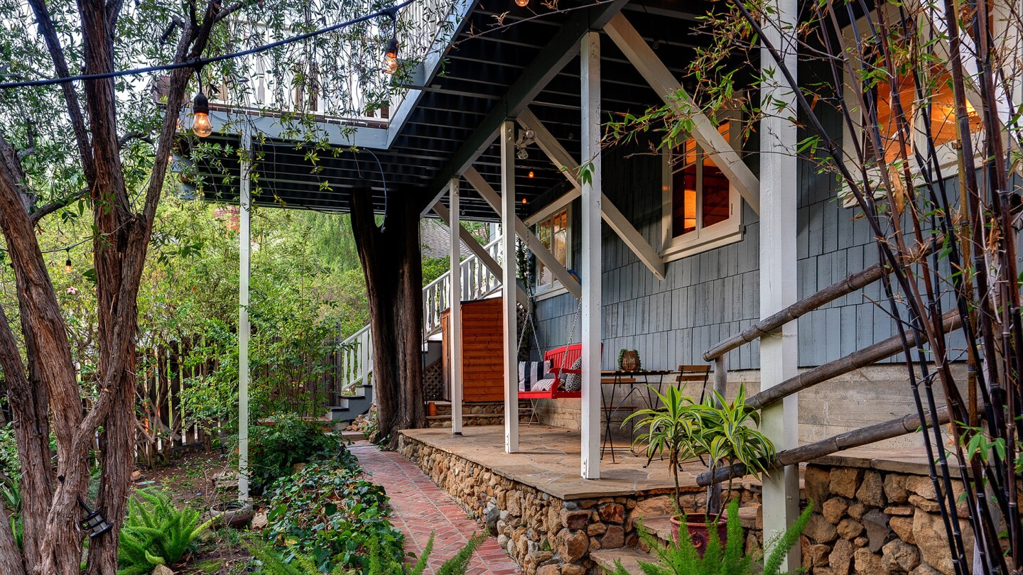 The shingle-clad Craftsman, built in 1912, is one of the original homes in the Hollywood Hills.