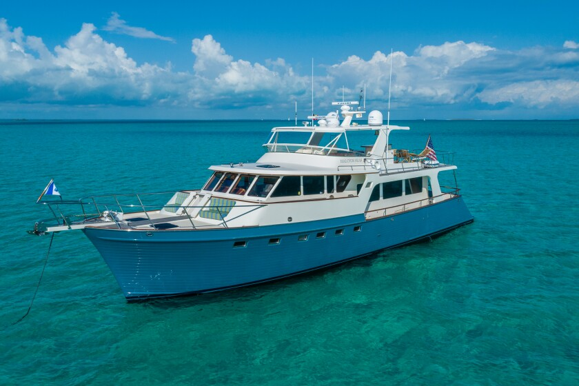 The Halcyon Seas 70-foot yacht has three staterooms and a central gathering space.
