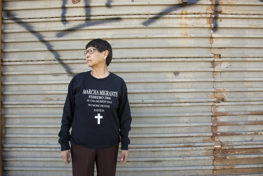 Micaela Saucedo has walked in all five Marcha Migrantes since the inaugural trek in 2006. This year's event starts Feb. 2 at the border fence near the ocean. The 125-mile march will continue along the border to Mexicali, ending on Feb. 7. Earnie Grafton • U-T