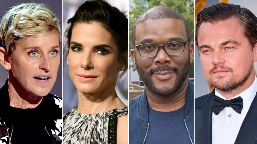 Ellen DeGeneres, left, Sandra Bullock, Tyler Perry and Leonard DiCaprio.