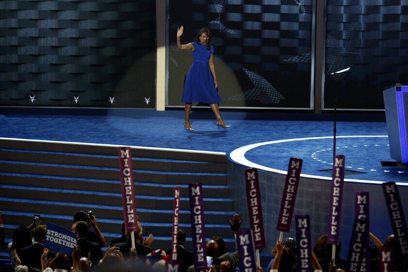First Lady Michelle Obama is among the top-tier Democrats who together give Hillary Clinton a high-wattage lineup of surrogate campaigners.