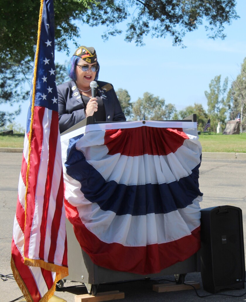 Ramona VFW Post 3783 Commander Alexis Henshaw leads 2018 Memorial Day services at the cemetery.