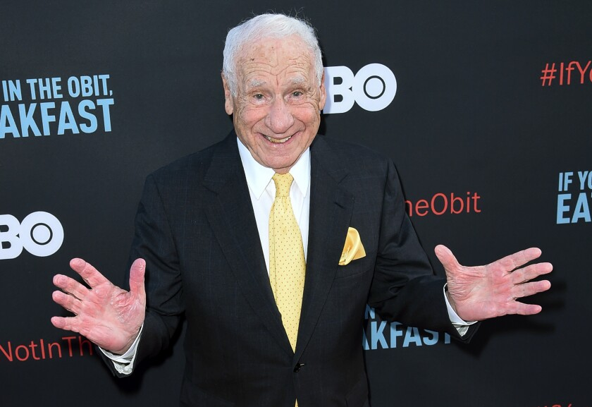 """FILE - In this May 17, 2017 file photo, Mel Brooks attends the LA Premiere of """"If You're Not In The Obit, Eat Breakfast"""" in Beverly Hills, Calif. Brooks has a memoir coming in November. It's called """"All About Me! My Remarkable Life in Show Business."""" (Photo by Richard Shotwell/Invision/AP, File)"""