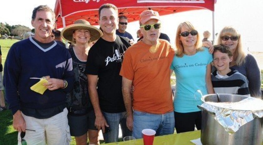 Steve Valois, Janet Handzel, Tracy Lothringer, Joe Markee, Kelly Lothringer, Laurie Milano, Mikey Lothringer with Cedros Serenade Chili from Claire's On Cedros