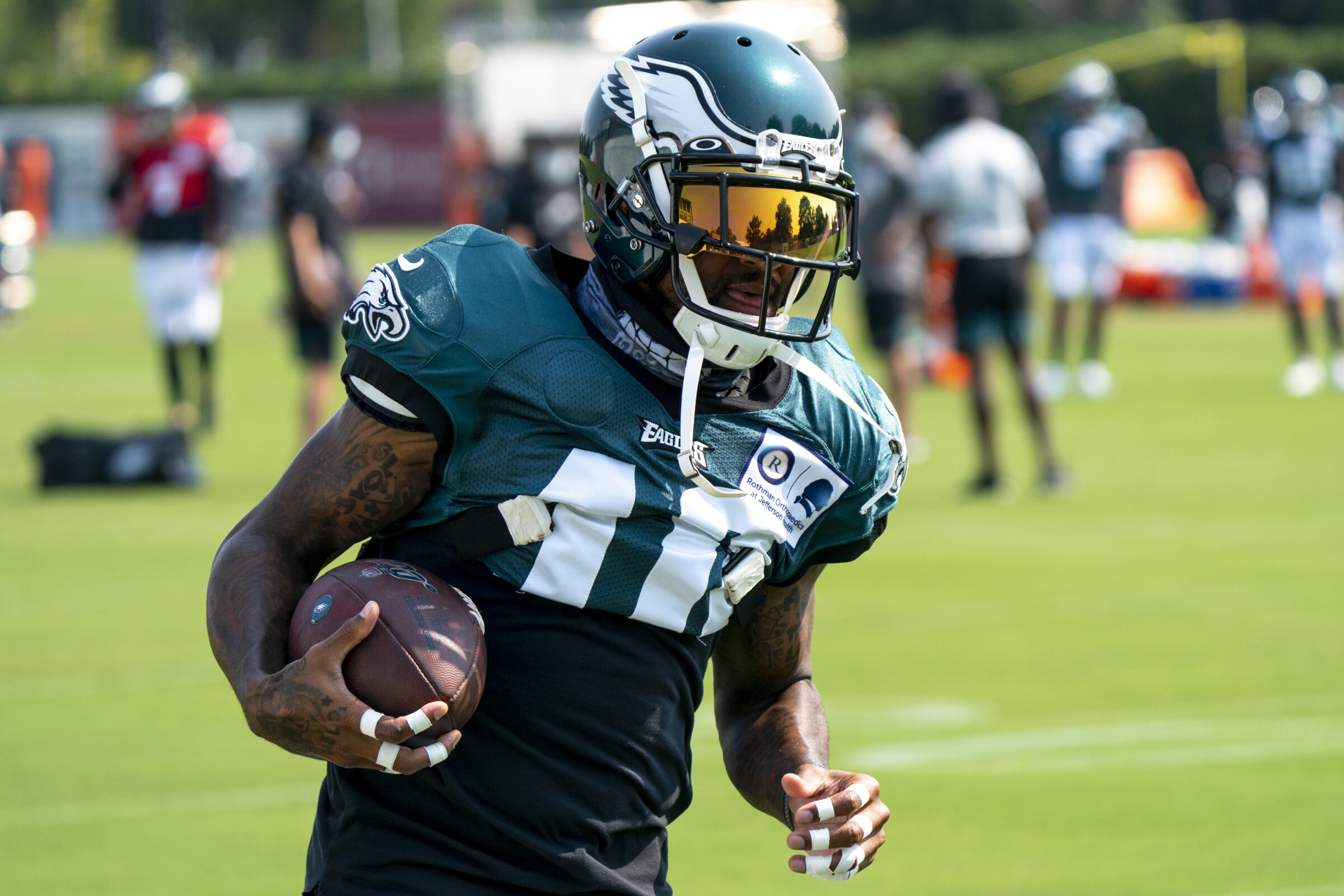 Philadelphia Eagles wide receiver DeSean Jackson in action during an NFL football practice.