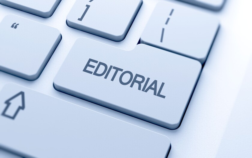 Editorial button on keyboard with soft focus