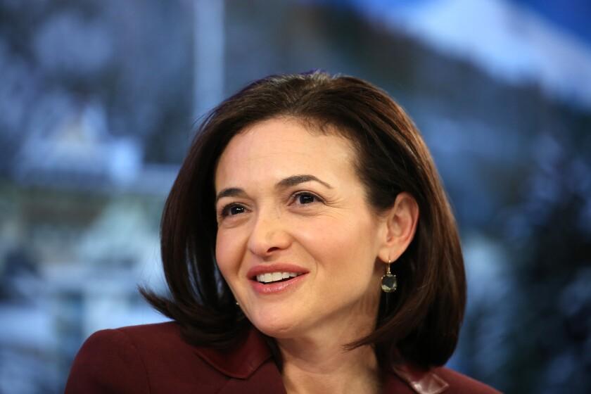 Sheryl Sandberg speaks at panel session at the World Economic Forum in Davos, Switzerland.