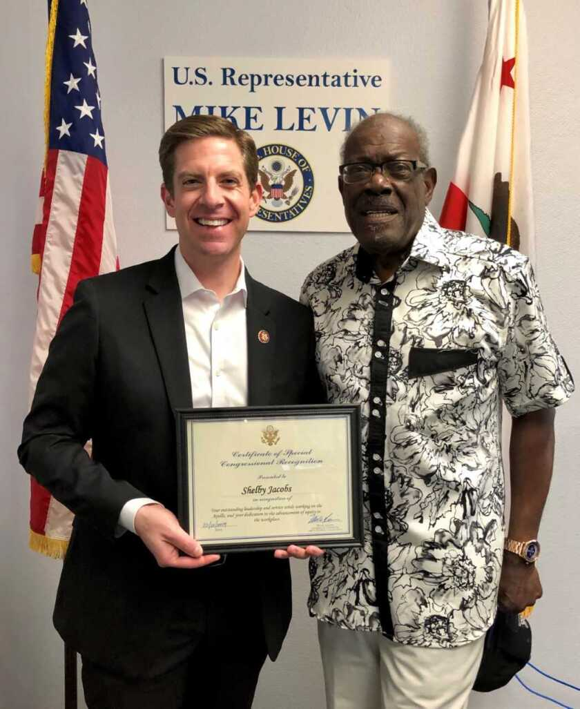 """U.S. Rep. Mike Levin named  Oceanside resident Shelby Jacobs """"Constituent of the Month.""""  From left is Representative Mike Levin and Shelby Jacobs in Levin's Oceanside office."""