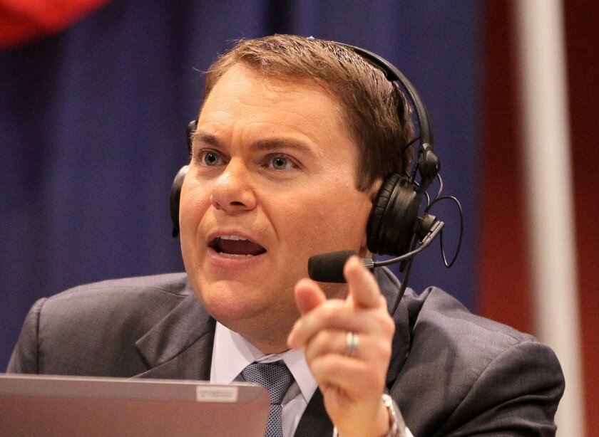 At Golden Hall's election central Carl DeMaio is interviewed on live radio.