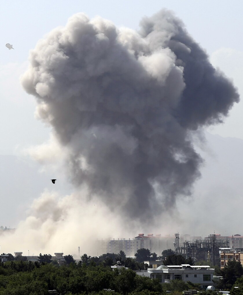 Smokes rises after an explosion in Kabul, Afghanistan, Monday, July 1, 2019. A powerful bomb blast r