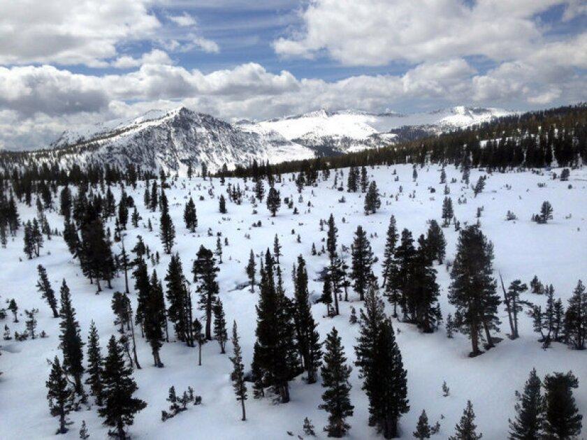 The Sierra snowpack east of Courtright Reservoir.