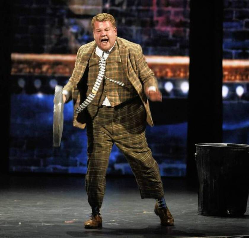 """James Corden performs a scene from """"One Man, Two Guvnors"""" at the Tony Awards show on Sunday."""