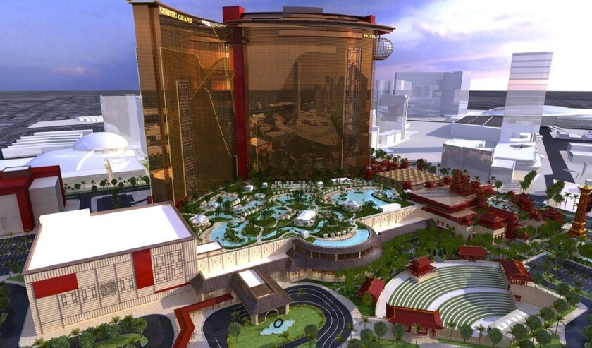 A rendering of Resorts World shows the completed hotel and casino, which parent company Genting Group says will open in mid-2018.