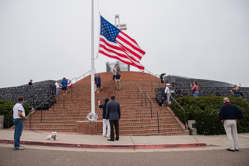 View of the American flag at Mt. Soledad National Veterans Memorial on May 25, 2020 in San Diego, California.