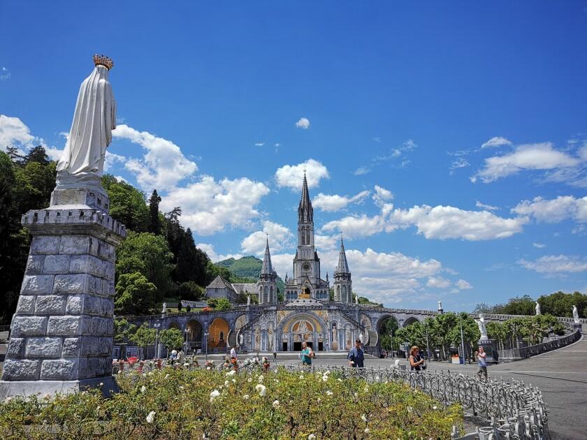LOURDES, France Ð JUNE 18, 2019: The Sanctuary of Our Lady of Lourdes (Notre Dame de Lourdes) is the