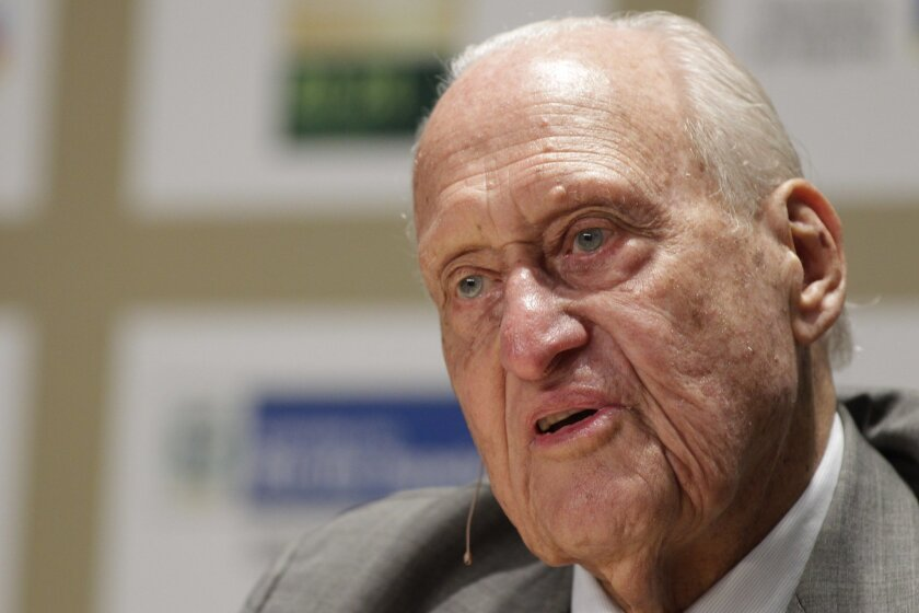 FILE - In this Nov. 22, 2010, file photo, Joao Havelange, a former FIFA president, speaks during an interview at the Soccerex Global Convention in Rio de Janeiro, Brazil. Havelange is being treated in a Rio de Janeiro hospital for respiratory problems. The 99-year old Brazilian, who handed over the
