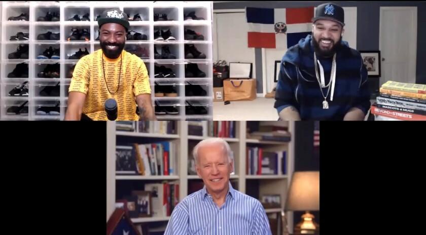 "Presumptive Democratic presidential nominee Joe Biden was a guest on ""Desus & Mero,"" a Showtime talk show, on April 16."
