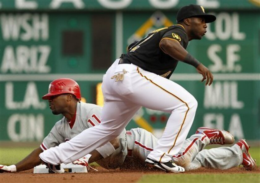 Pittsburgh Pirates third baseman Josh Harrison, right, puts the late tag on Philadelphia Phillies' Jimmy Rollins, who steals second, during the first inning of a baseball game in Pittsburgh, Friday, June 3, 2011.(AP Photo/Gene J. Puskar)