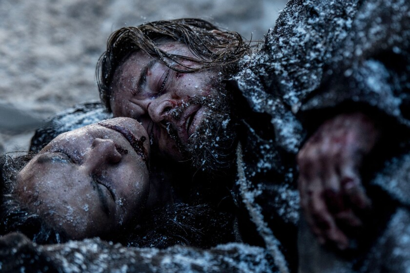 """Leonardo DiCaprio and Forrest Goodluck in a scene from """"The Revenant."""""""