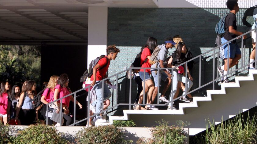 La Cañada High School students head to class on the first day of school at the La Caña