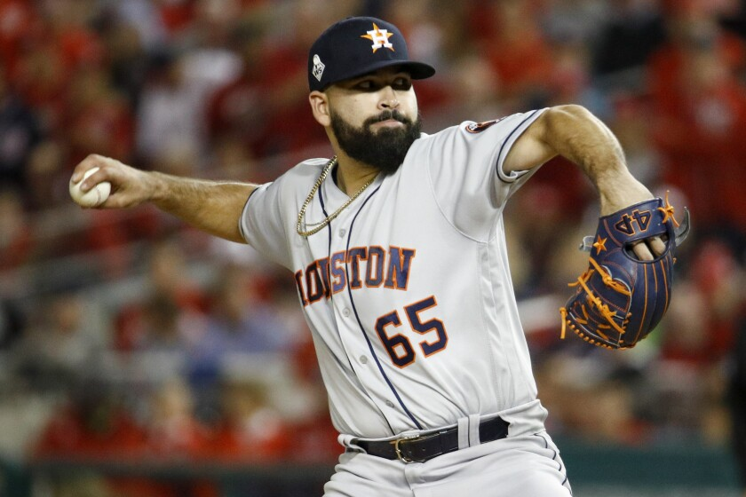 Jose Urquidy, a 24-year-old rookie, pitched five scoreless innings for the Astros in Game 4 on Saturday night.