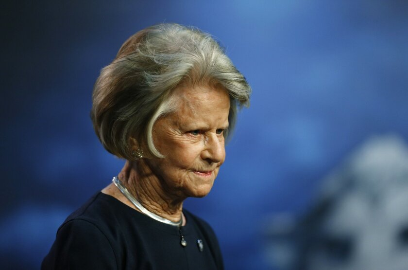 Detroit Lions NFL football team owner Martha Firestone Ford reads a prepared statement Thursday, Nov. 5, 2015, in Allen Park, Mich. The struggling Lions have shaken up their front office. Lions president Tom Lewand and general manager Martin Mayhew were fired on Thursday.  (AP Photo/Paul Sancya)