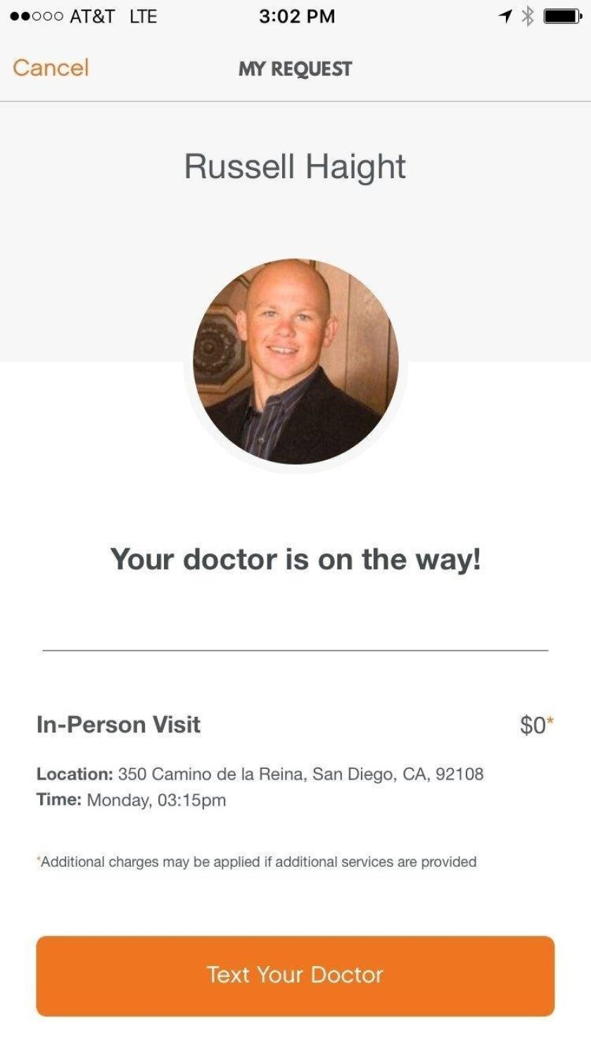 The Pager app matches a patient to a doctor and shows when the clinician is en route.