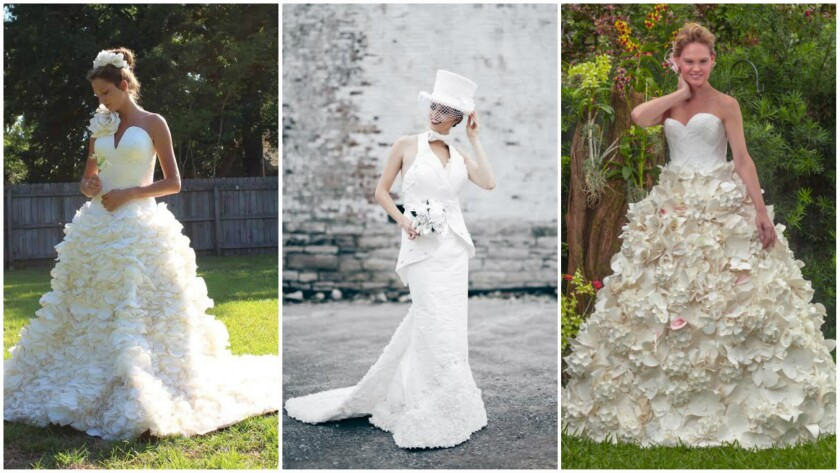 Winners of the 11th Annual Toilet Paper Wedding Dress Contest presented by Cheap Chic Weddings and Charmin include, from left, the second-place design by Mimoza Haska, the first-place design by Donna Vincler and the third-place design by Carol Touchstone.