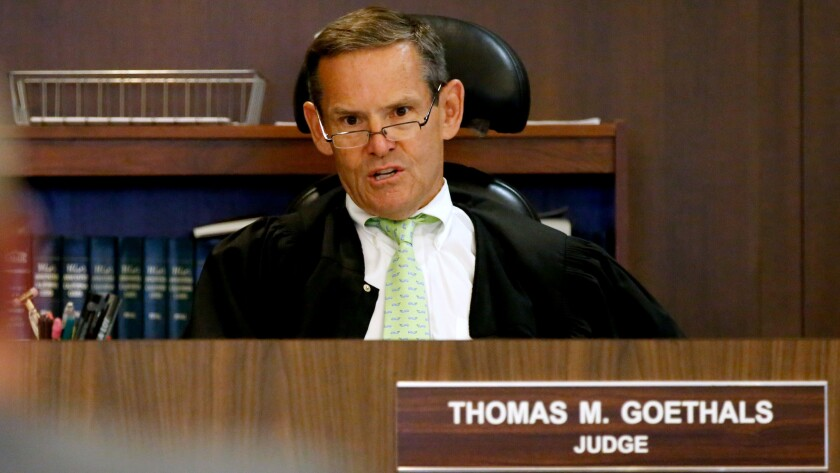 Orange County Superior Court Judge Thomas Goethals, seen in court in July, questioned credibility of two sheriff's deputies in March 2015.