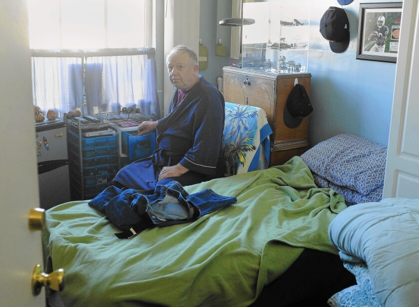 """Gene Huncovsky has lived in his single-room-occupancy hotel in downtown San Diego for nine years. """"I love it,"""" he says."""