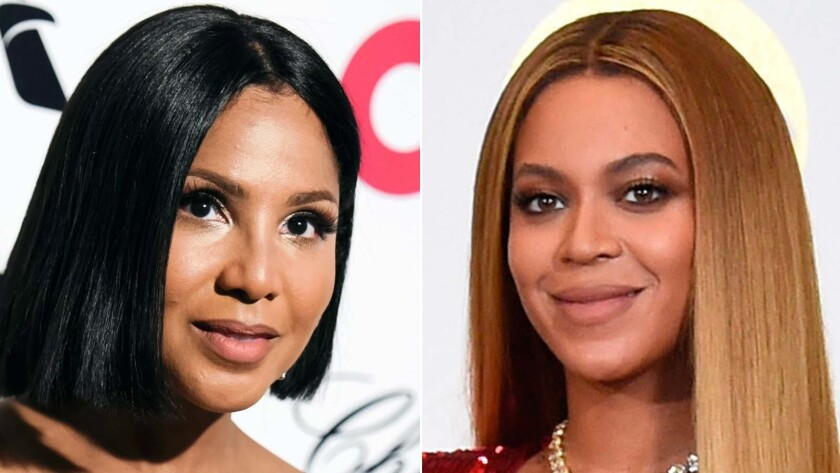 Toni Braxton, left, is a big fan of Beyoncé's Halloween costume this year.