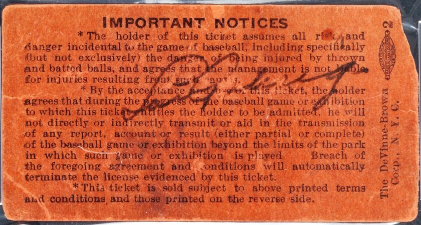 FILE- In this undated file photo provided by Heritage Auctions, a Yankee Stadium ticket stub signed by Lou Gehrig on July 4, 1939, the day he retired from baseball, is shown. The ticket was sold at an auction by Heritage Auctions of Dallas, Texas on Thursday, July 31, 2014, for $95,600. (AP Photo/H