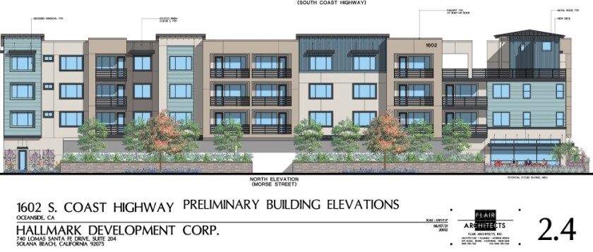 An architectural drawing of the condominium project proposed for South Coast Highway, seen from Morse Street.