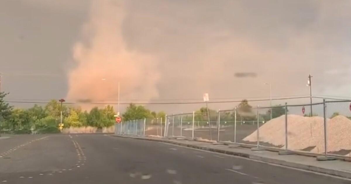 Selten tornado landet in Yolo County college-Stadt