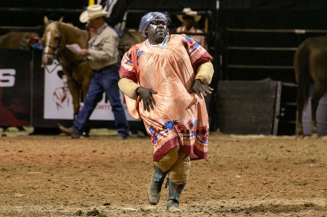Avery Ford, a rodeo clown who performs as Spanky, entertains the crowd at the Bill Pickett Invitational Rodeo