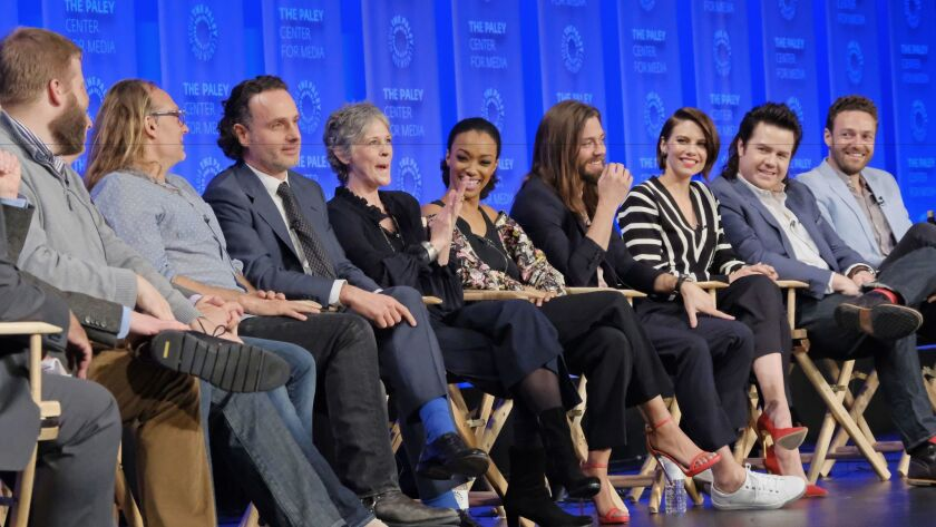 """""""Walking Dead"""" cast members and producers discuss the show during the Paley Center for Media's annual PaleyFest TV festival on Friday."""