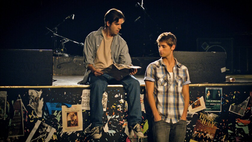 "Sean Modica, left, and Jean-Luc Bilodeau in the movie ""All in Time."""
