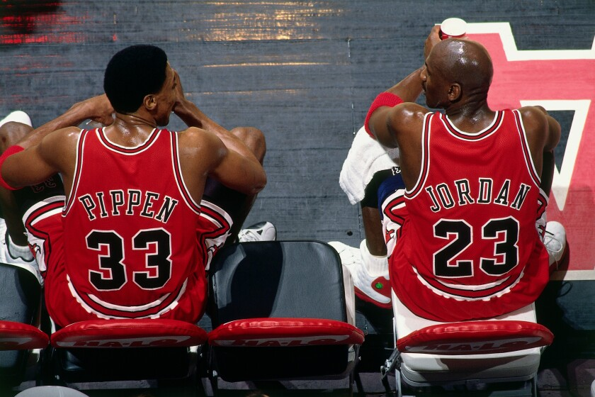"Scottie Pippen and Michael Jordan of the Chicago Bulls during a game against the Vancouver Grizzlies in 1998. Never-before-seen footage of that championship season is at the heart of ESPN's new docuseries ""The Last Dance."""