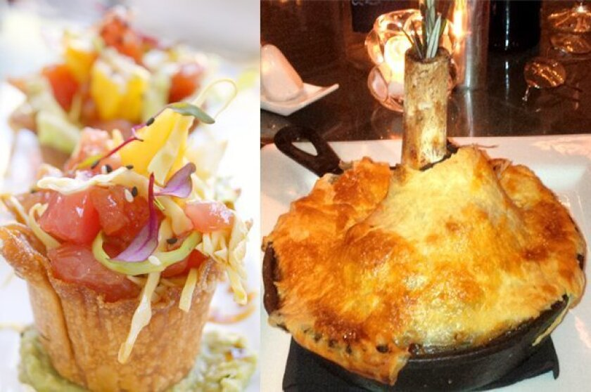 Ahi Poke Wontons and Osso Bucco En Croute are among the creative menu items at Finch's Bistro & Wine Bar in La Jolla.