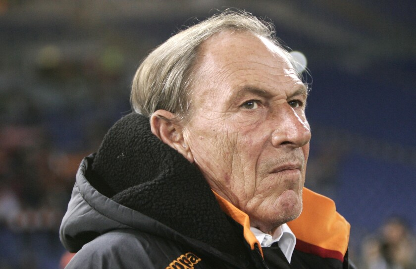 FILE -- In this Feb. 1, 2013 file photo, coach Zdenek Zeman, of Czech Republic, waits for the start of a Serie A soccer at Rome's Olympic stadium. 74-year-old chain-smoking Zeman might have made just as much of an impact on this Italy squad as Azzurri manager Roberto Mancini has. (AP Photo/Riccardo De Luca)