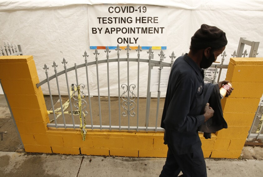 Testing for the coronavirus is being conducted at St. John's Well Child and Family Center in South Los Angeles.