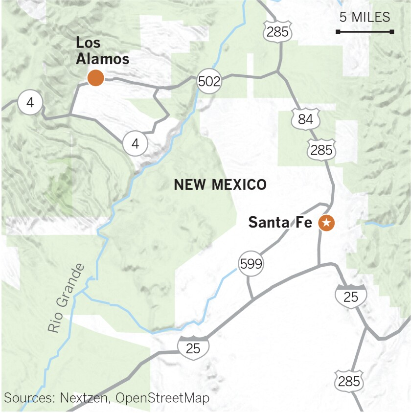 Map of New Mexico showing Santa Fe, U.S. 285 and Highway 502 / 30.