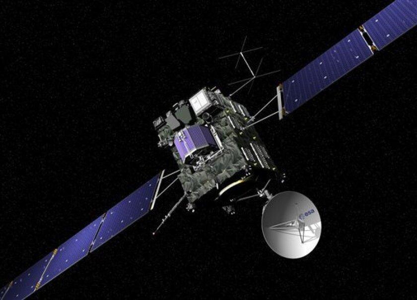 Imagen del cibersitio de la Agencia Espacial Europea el 29 de septiembre de 2016 que recrea la sonda Rosetta. La sonda se estrellará contra el cometa 67P/Churyumov-Gerasimenko el 30 de septiembre de 2016.