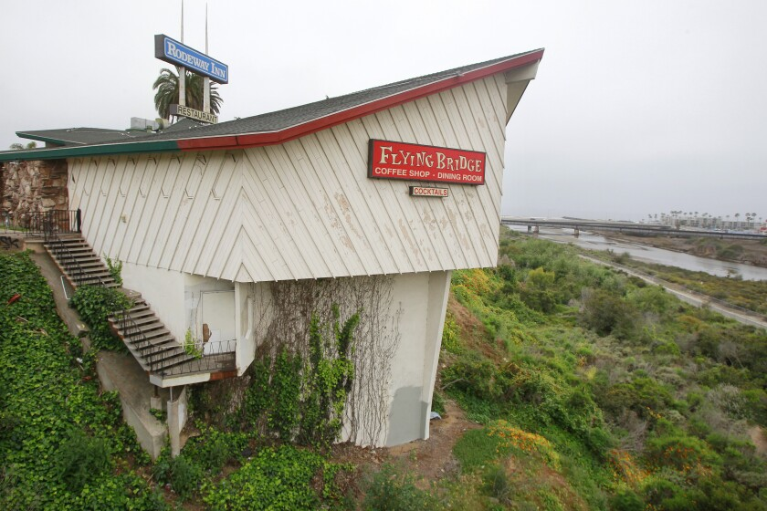 The Flying Bridge Restaurant and the Roadway Inn motel along North Coast Highway in Oceanside will soon be demolished and replaced by 114-room hotel, restaurant, special-event space and parking.
